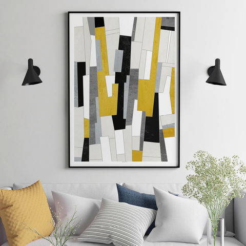Large,Abstract,Art,Prints,-,Yellow,and,Grey,Living,Room,Wall,Large Abstract Art Prints - Yellow and Grey Living Room Wall Art