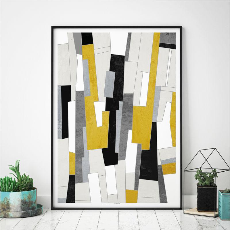 Abstract Art Prints Mustard Yellow And Black Wall
