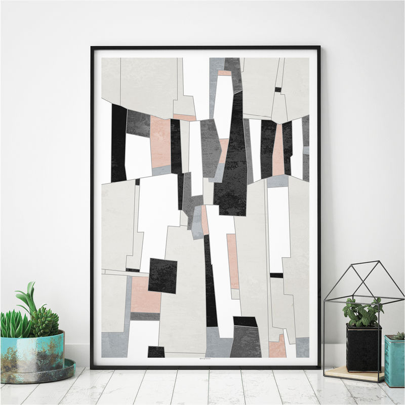 Set of 3 Abstract Wall Art Prints- Pink and Grey Living Room Art - Fine Art Prints - product images  of