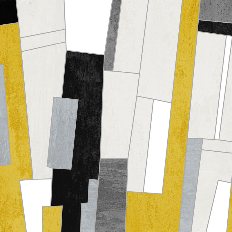 Set of 3 Abstract Art Prints - Mustard Yellow and Grey Wall Art - product images  of