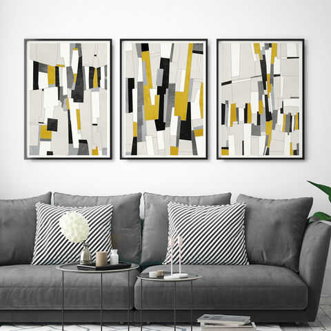 Set,of,3,Abstract,Art,Prints,-,Mustard,Yellow,and,Grey,Wall,Set of 3 prints, abstract art prints set, Mustard yellow and Grey Art Prints - Fine Art Prints