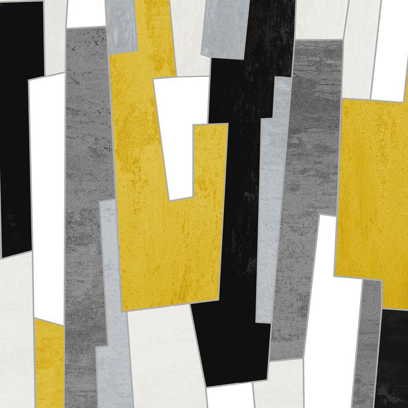 Set Of 3 Abstract Art Prints Mustard Yellow And Grey Wall