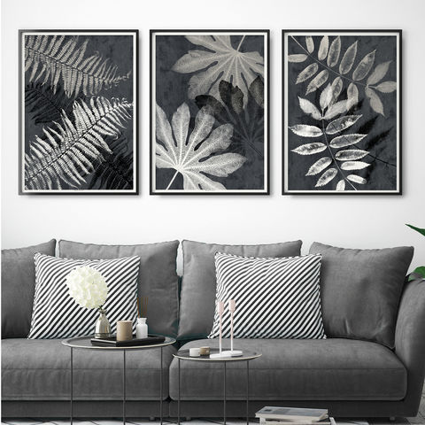 Wall,Art,Set,of,3,Botanical,Leaf,Prints,-,Black,and,White,Wall Art Set of 3 Botanical Leaf Prints - Black and White Art