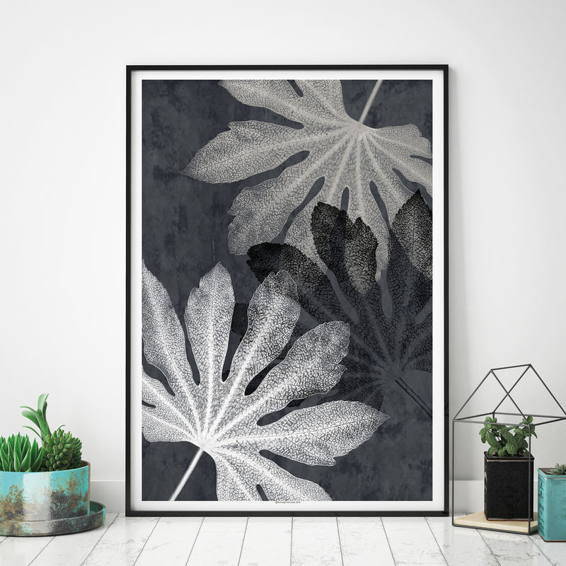Set of 3 Wall Art Prints - Botanical Leaf Prints - Black and White Art - product images  of