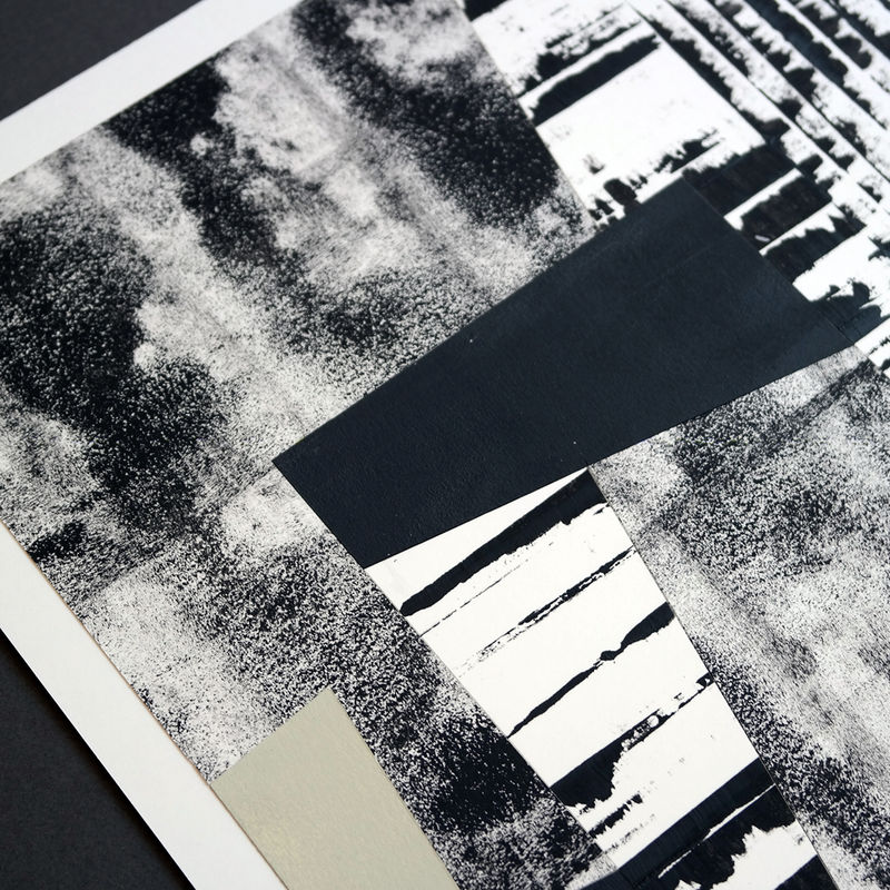 Original Abstract Collage - Black and White Painting - Unique Wall Art - product images  of