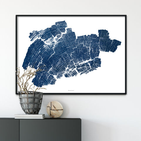 Indigo,Blue,Abstract,Wall,Art,Print,-,Wood,Grain,large abstract art print, wood grain art print, indigo blue wall art, 5th wedding anniversary gift
