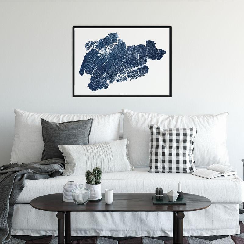 Indigo Blue Abstract Wall Art Print - Wood Grain Art - product images  of