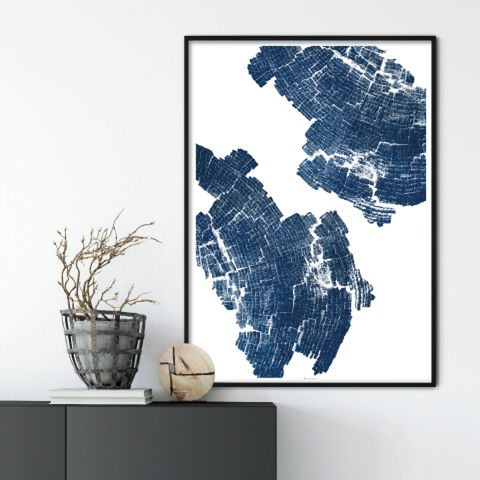 Large,Abstract,Wood,Grain,Art,Print,-,Indigo,Blue,Wall,large abstract art print, wood grain art print, indigo blue wall art, 5th wedding anniversary gift
