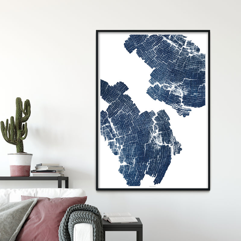 Large Abstract Wood Grain Art Print - Indigo Blue Wall Art - product images  of
