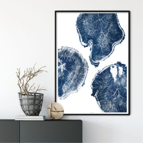 Large,Tree,Ring,Wall,Art,Print,-,Indigo,Blue,Decor,Large Tree Wall Art Print - Indigo Blue Wall Decor