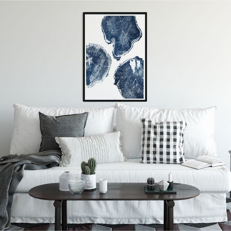 Large Tree Ring Wall Art Print - Indigo Blue Wall Decor - product images  of