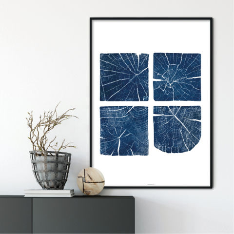 Large,Tree,Section,Wall,Art,Print,-,Indigo,Blue,and,White,Decor,large tree section print, tree section wall art, tree section art, indigo blue and white wall art print