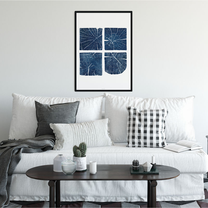 Large Tree Section Wall Art Print - Indigo Blue and White Wall Decor - product images  of