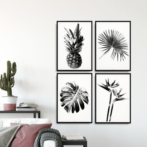 Set,of,4,Botanical,Prints,-,Black,and,White,Large,Wall,Art,Set of 4 botanical prints, black and white large wall art