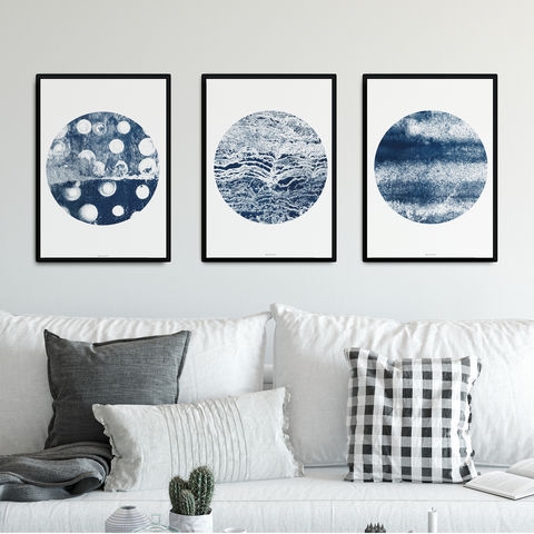 Set,of,3,Prints,Abstract,-,Indigo,Blue,Wall,Art,set of 3 prints abstract, indigo blue wall art