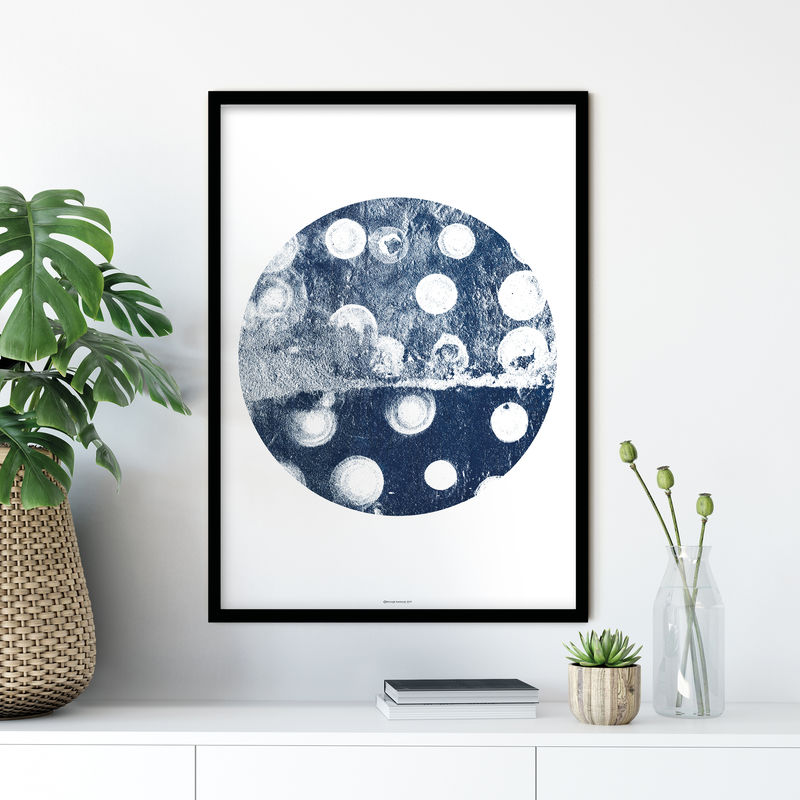 Set of 3 Abstract Fine Art Prints - Indigo Blue Wall Art - product images  of