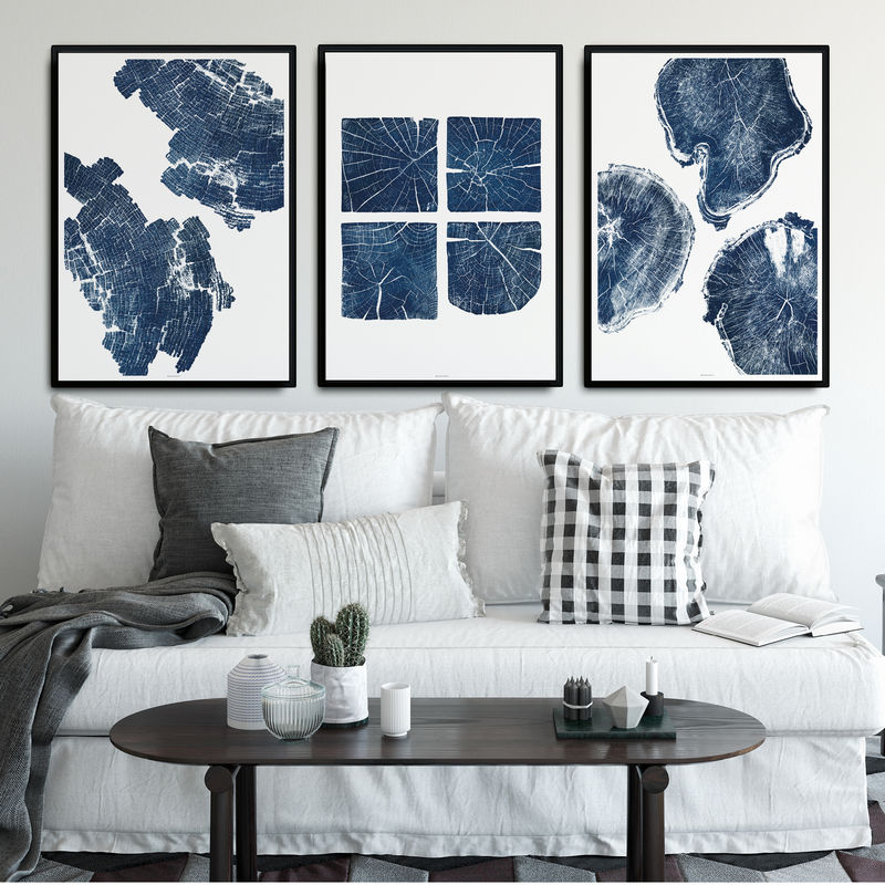 Set of 3 Large Abstract Wall Art Prints - Nature Inspired Wood Textures - product images  of