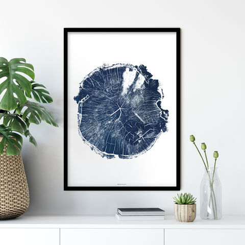 Minimalist,Tree,Ring,Wall,Art,Print,-,Living,Room,Blue,tree ring wall print, tree ring art, minimalist print, living room art blue, bronagh kennedy