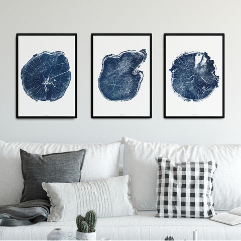 Set,of,3,Large,Wall,Art,Prints,-,Tree,Ring,Indigo,and,White,gallery wall set of 3 pronts, set of three prints, tree ring art, indigo and white wall art