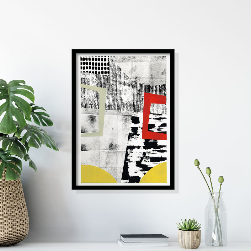 Original Abstract Art Painting - Contemporary Collage Artwork - Black and White Abstract Art - product images  of
