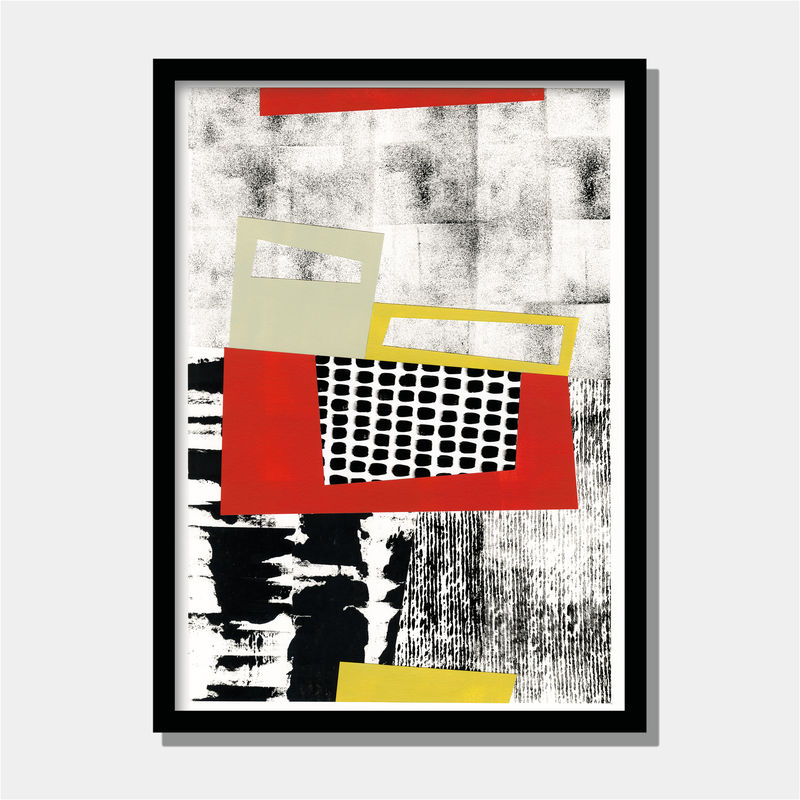 Abstract Fine Art Painting - Contemporary Abstract Collage Art Work - Black and White Abstract Art - product images  of