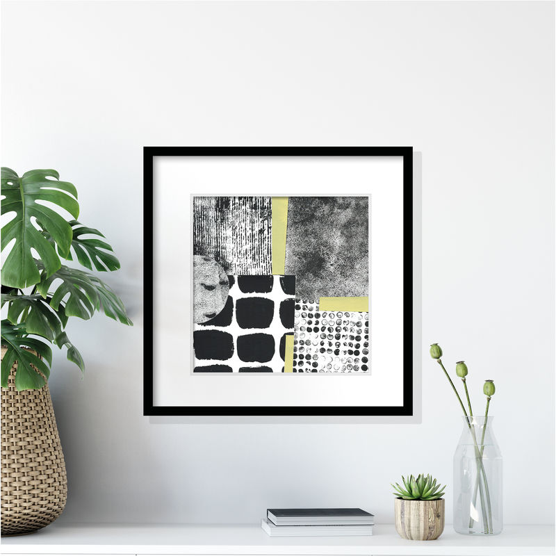 One of a Kind Abstract Painting - Contemporary Abstract Collage - Black and White Wall Art - product images  of