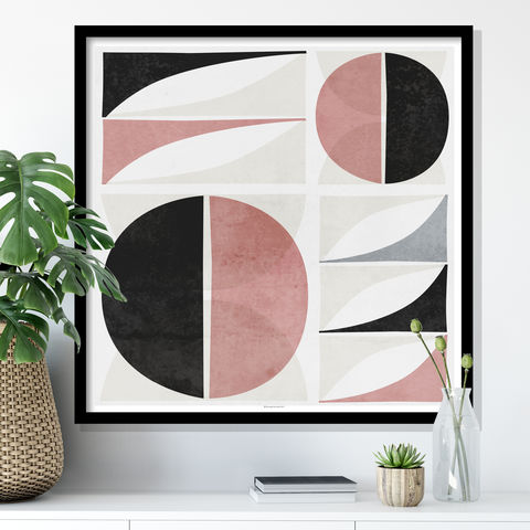 Abstract,Geometric,Fine,Art,Print,-,Pink,and,Grey,Mid,Century, Abstract Geometric Fine Art Print - Pink and Grey Art - Mid Century Art Print