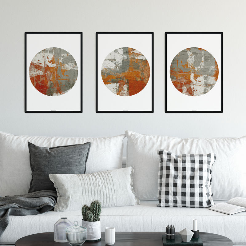 Set of Three Neutral Abstract Fine Art Prints - Abstract Tryptic - product images  of