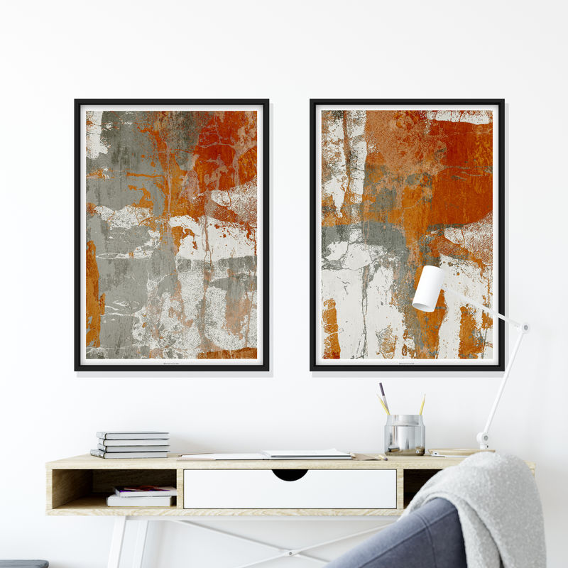 Abstract Fine Art prints - Set of 2 Prints - Neutral Living Room Art - A2 Prints - product images  of