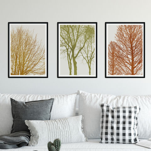 Gallery,Wall,Set,of,3,Art,Prints,-,Tree,Silhouette,Autumnal,Colour,Print,Gallery Wall Set of 3 Art Prints - Tree Silhouette Art - Autumnal Colour Print