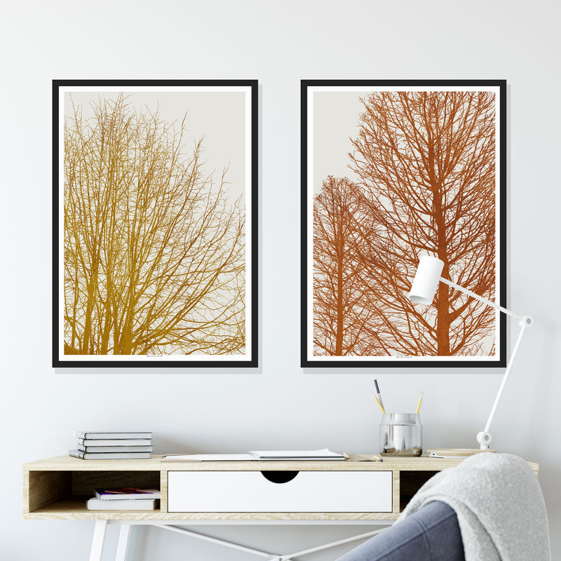 Set of 2 Tree Silhouette Art Prints - Autumnal Colour Print - Minimalist Prints - product images  of