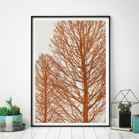 Autumn,Tree,Art,Print,-,Burnt,Orange,Wall,Landscape,Prints,Autumn Tree Art Print - Burnt Orange Wall Art - Landscape Prints