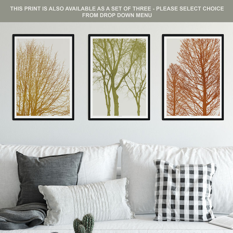 Sage Green Wall Art - Tree Silhouette Print - Landscape Prints - product images  of