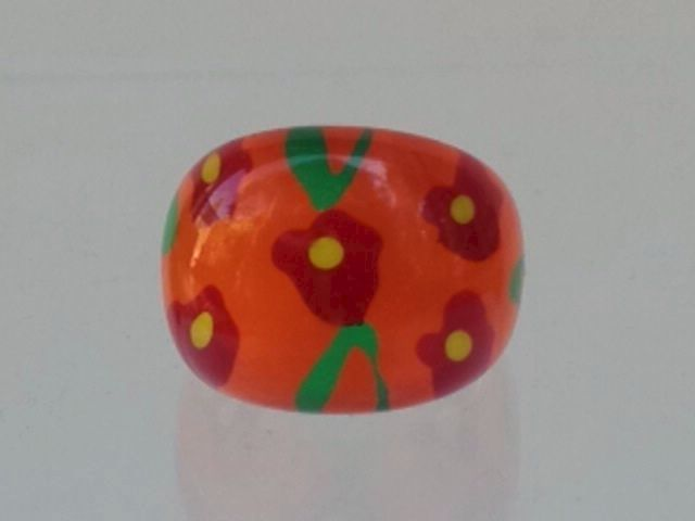 Lucite Bubble Ring Orange with Flowers - product image