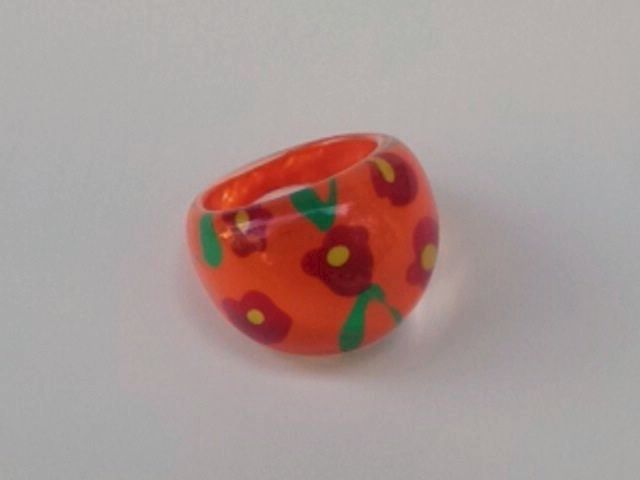Lucite Bubble Ring Orange with Flowers - product images  of