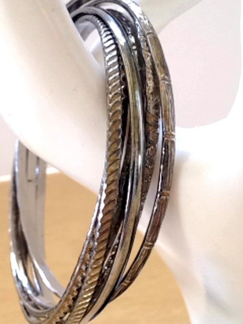 Silver Tone Bangles Set of 6 Thin Metal Bracelet - product images  of