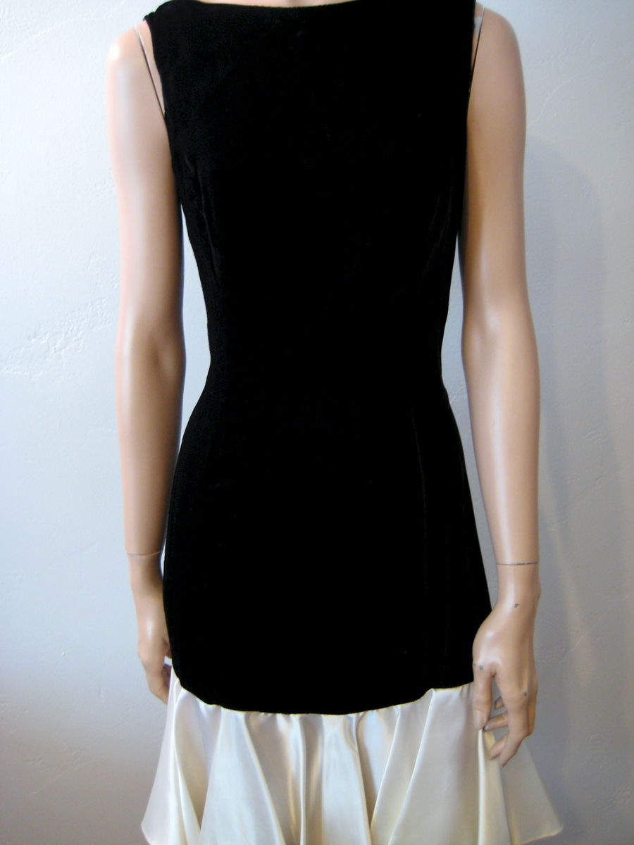 Vintage Black Velvet Dress with Cream Satin Drop Waist - product images  of