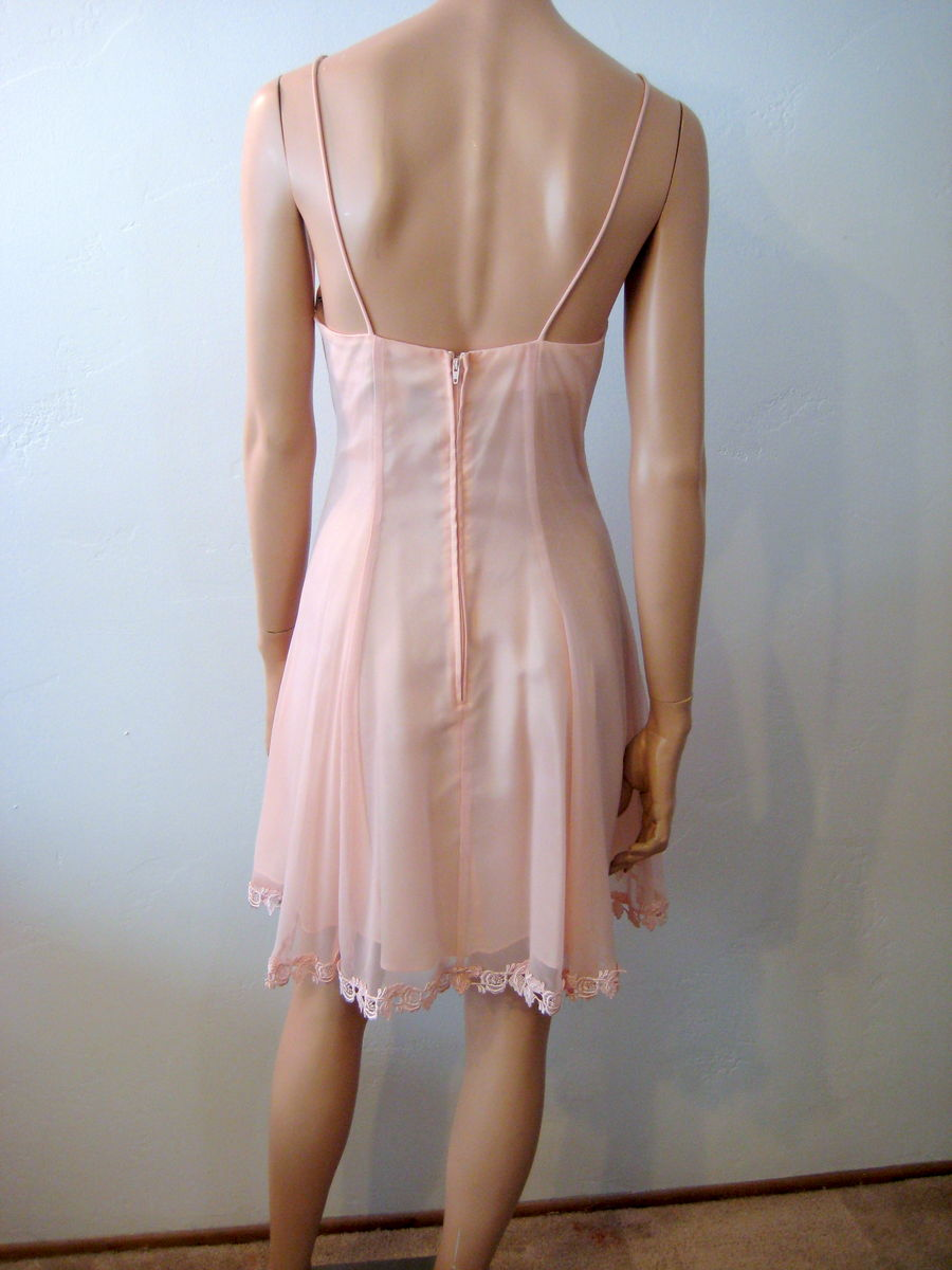 Sheer Pink Summer Dress A Line Spaghetti Strap - product images  of