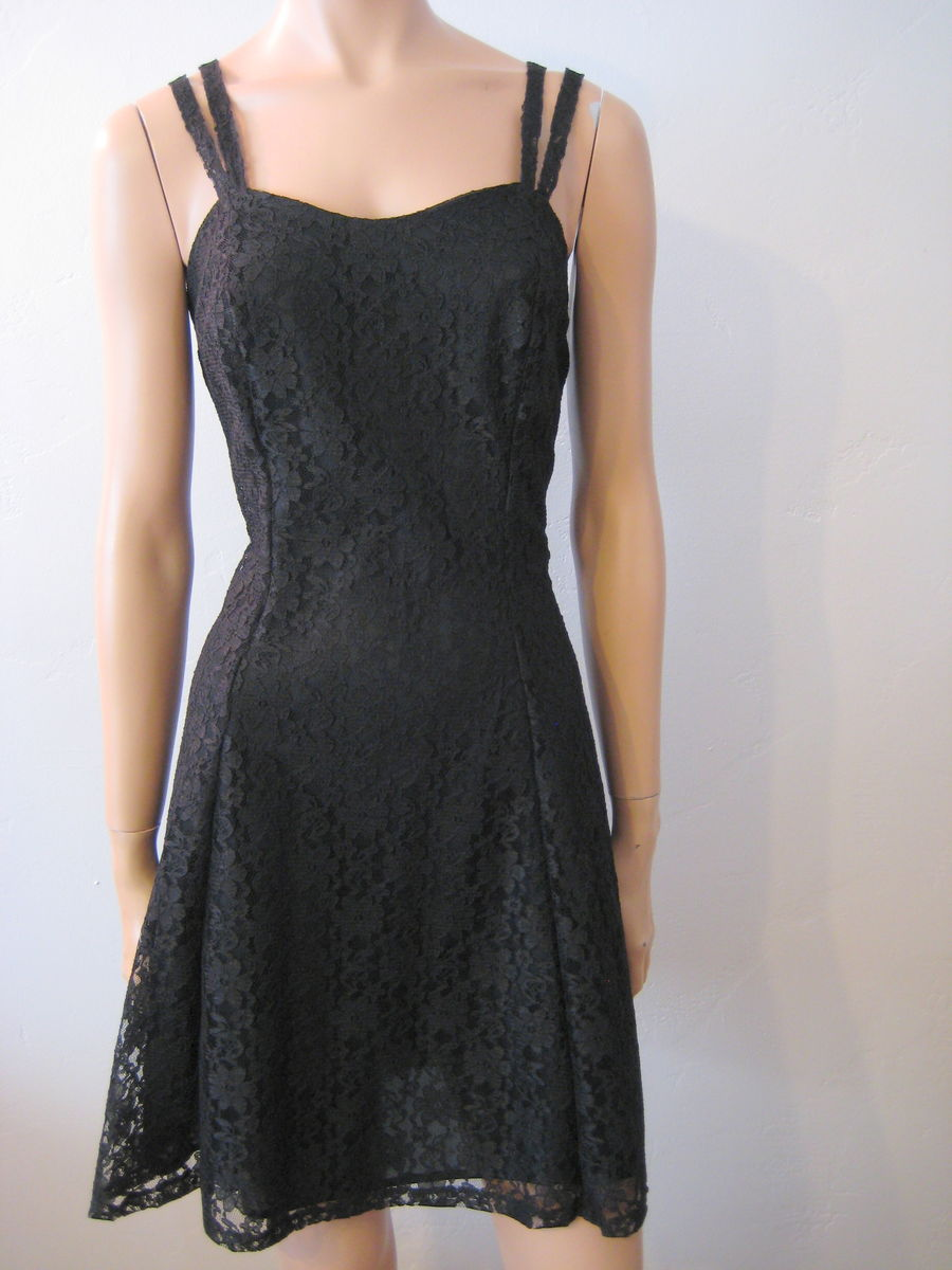 Black Lace Mini Dress Summer Party Fit & Flare, Vintage - product images  of