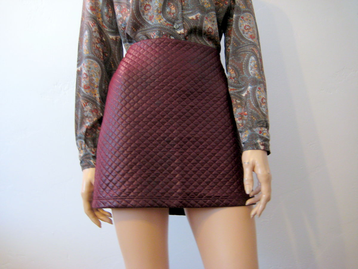 Cute Quilted Mini Skirt in Burgundy - product images  of