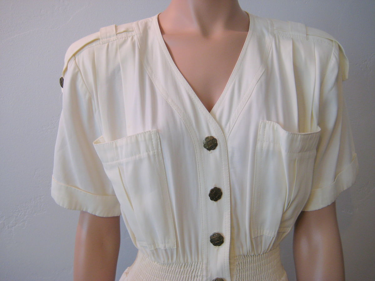 Vintage 90's Women's Jumpsuit in Cream Size 6 - product images  of