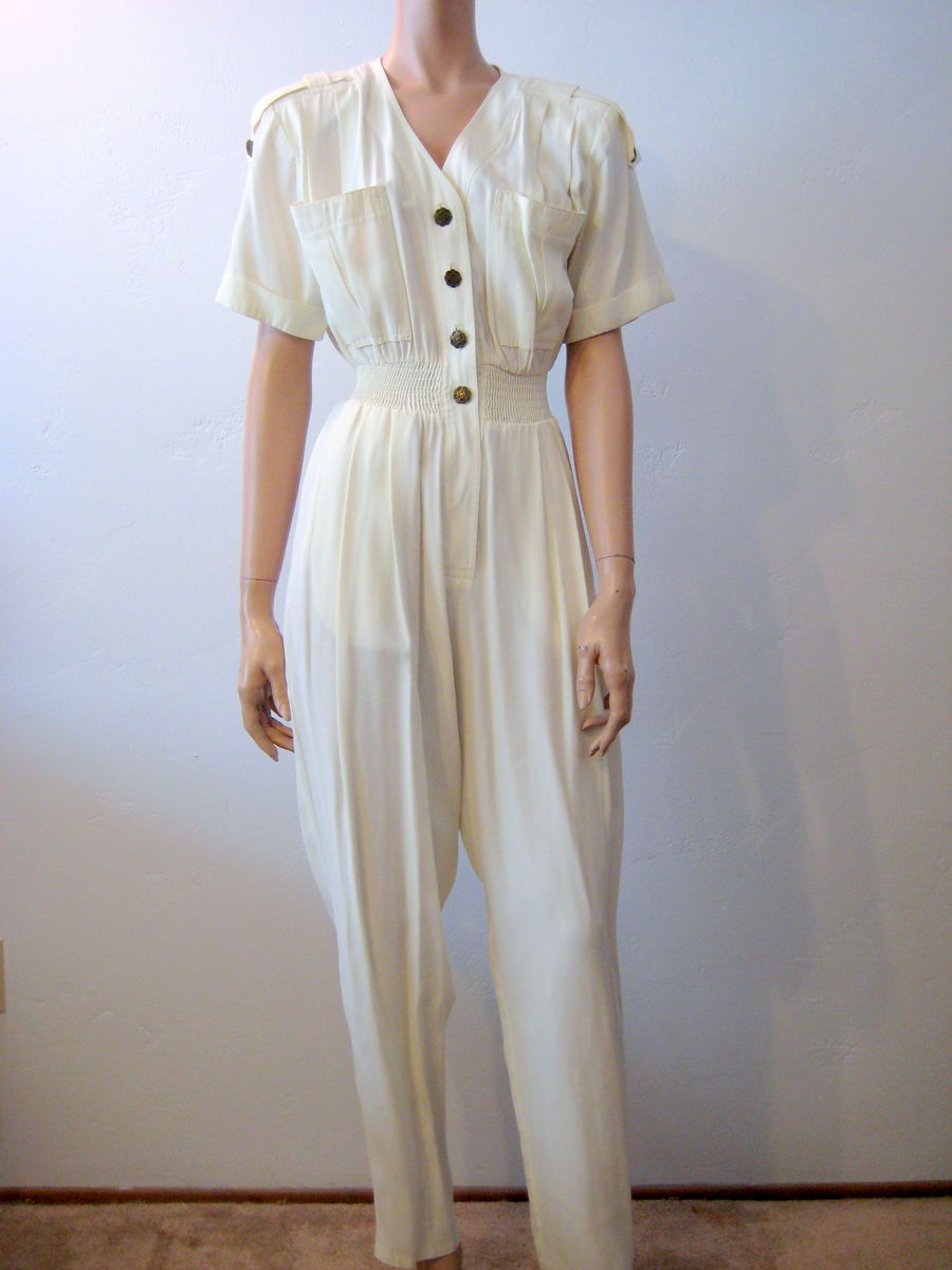 Vintage 90's Women's Jumpsuit in Cream Size 6 - product image