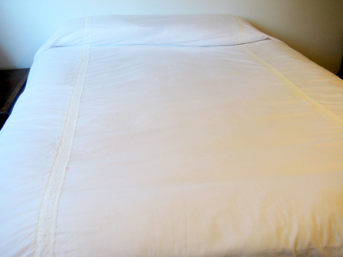 Vintage Bedspread Coverlet Summer Cotton Dotted Swiss Pale Yellow - product images  of