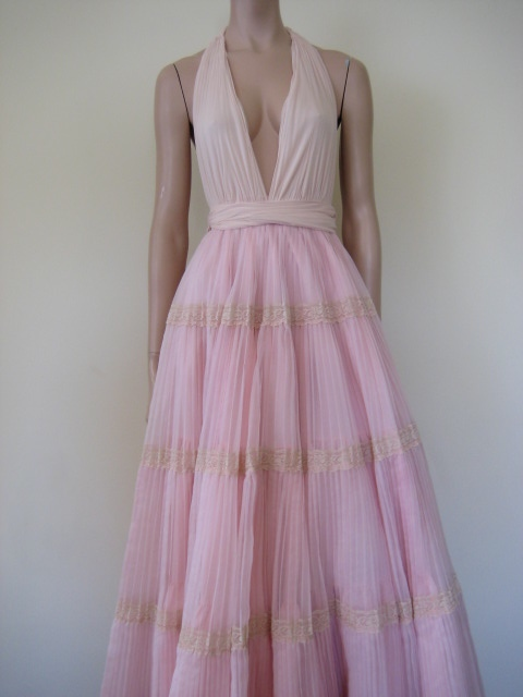 Pink Chiffon Party Dress Plunging Backless Halter Tie with Pleated Skirt Vintage Remix OOAK - product image