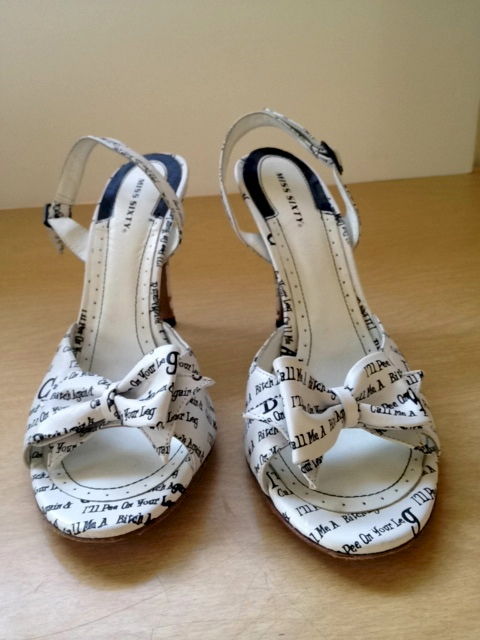 Miss Sixty Black and White Graffiti Sandals Size 41 - product image