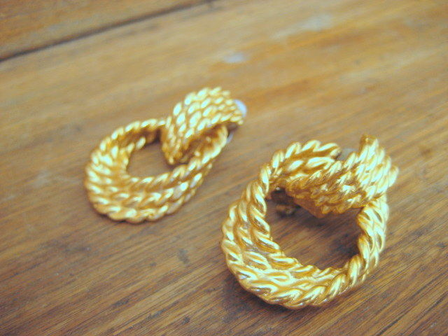 Gold Earrings Twisted Rope Dangle Hoops - product images  of