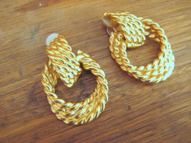 Gold Earrings Twisted Rope Dangle Hoops Vintage Re