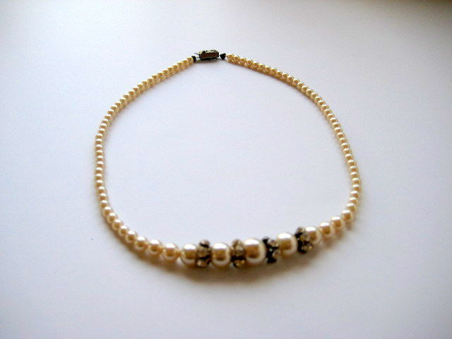 Vintage Pearl and Rhinestone Choker Necklace - product image