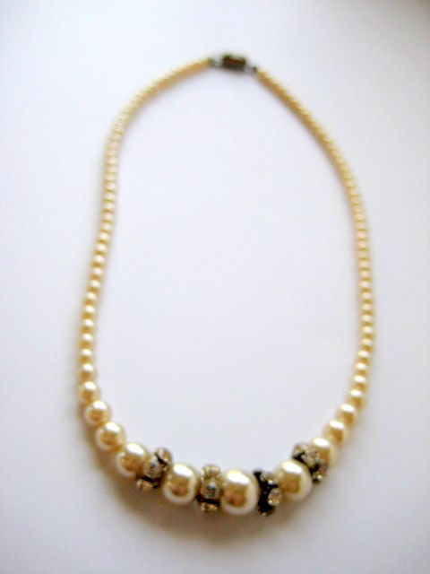 Vintage Pearl and Rhinestone Choker Necklace - product images  of