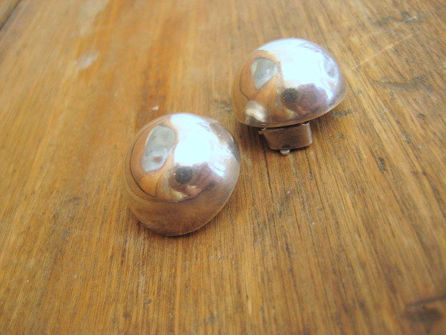 Sterling Silver Button Earrings Signed Taxco Clip Ons - product images  of